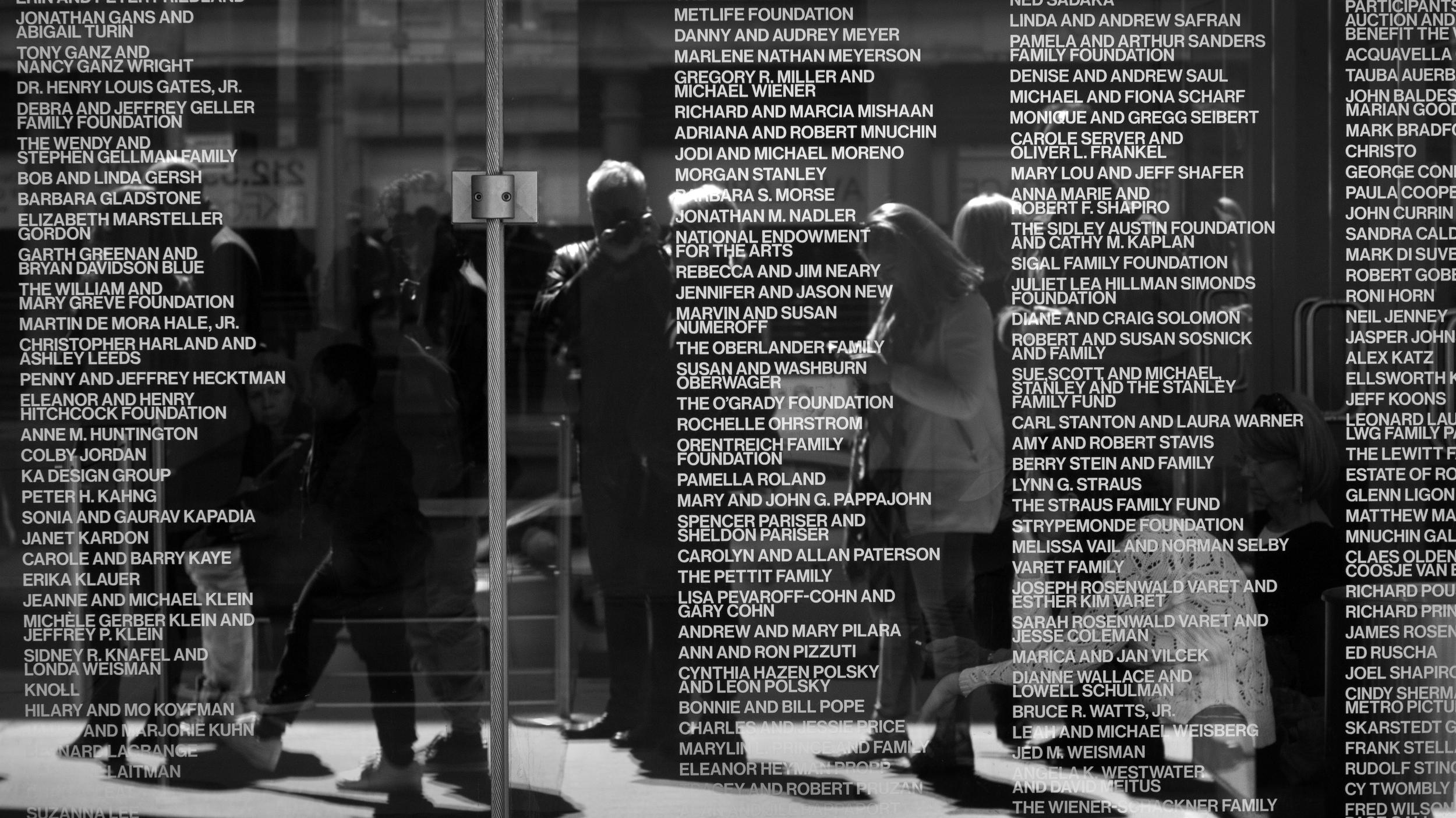 Patron wall, Whitney Museum of American Art, New York, NY