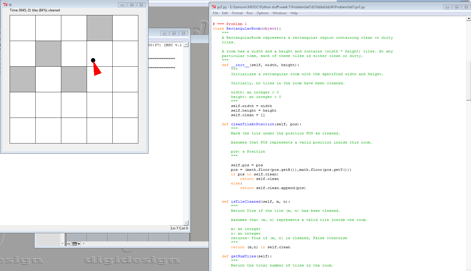 The graphical display of the program plus some of the Rectangular Room functions and class definition.