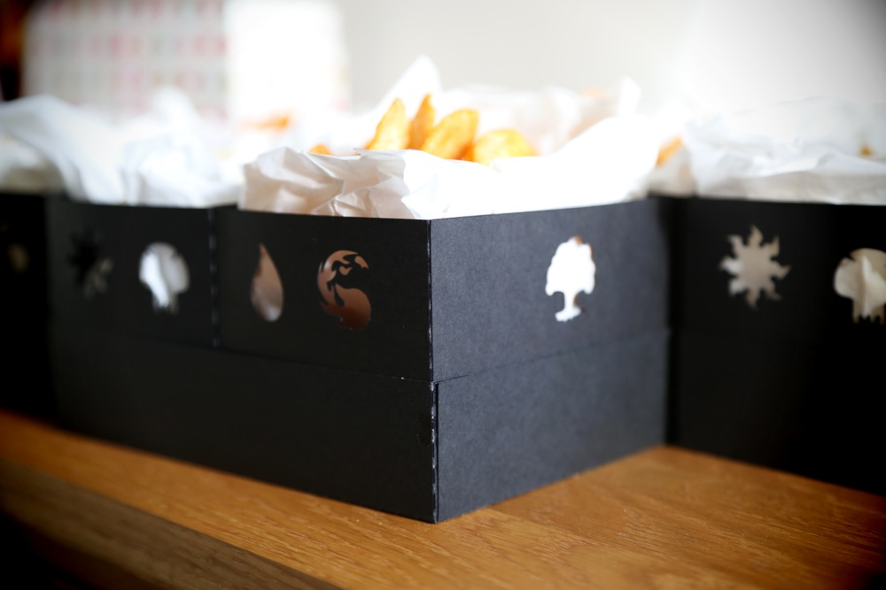 MTG mana snack boxes. Designed and cut with Silhouette Cameo.