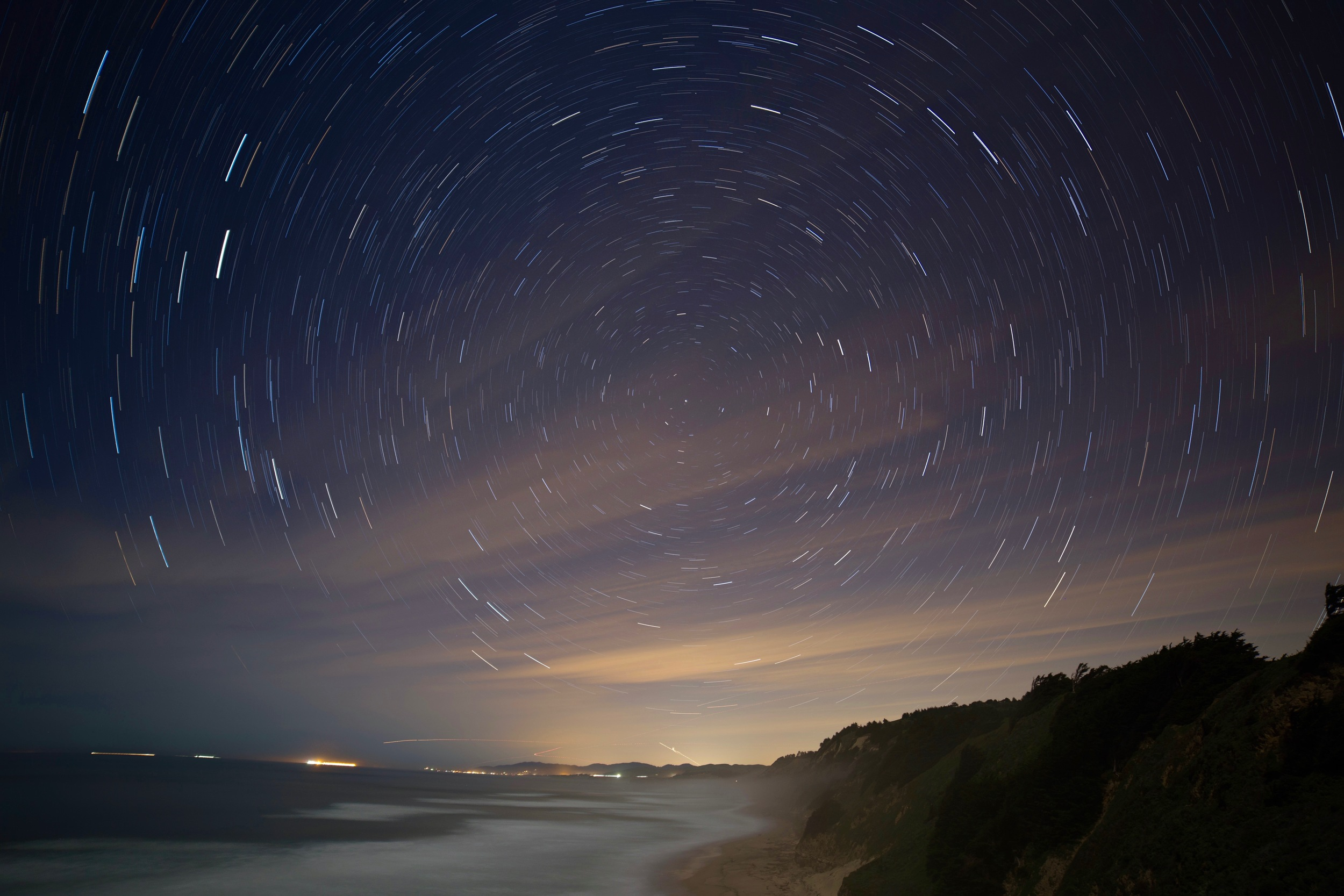 So I turned the camera north and got star trails. The lights are Half Moon Bay.