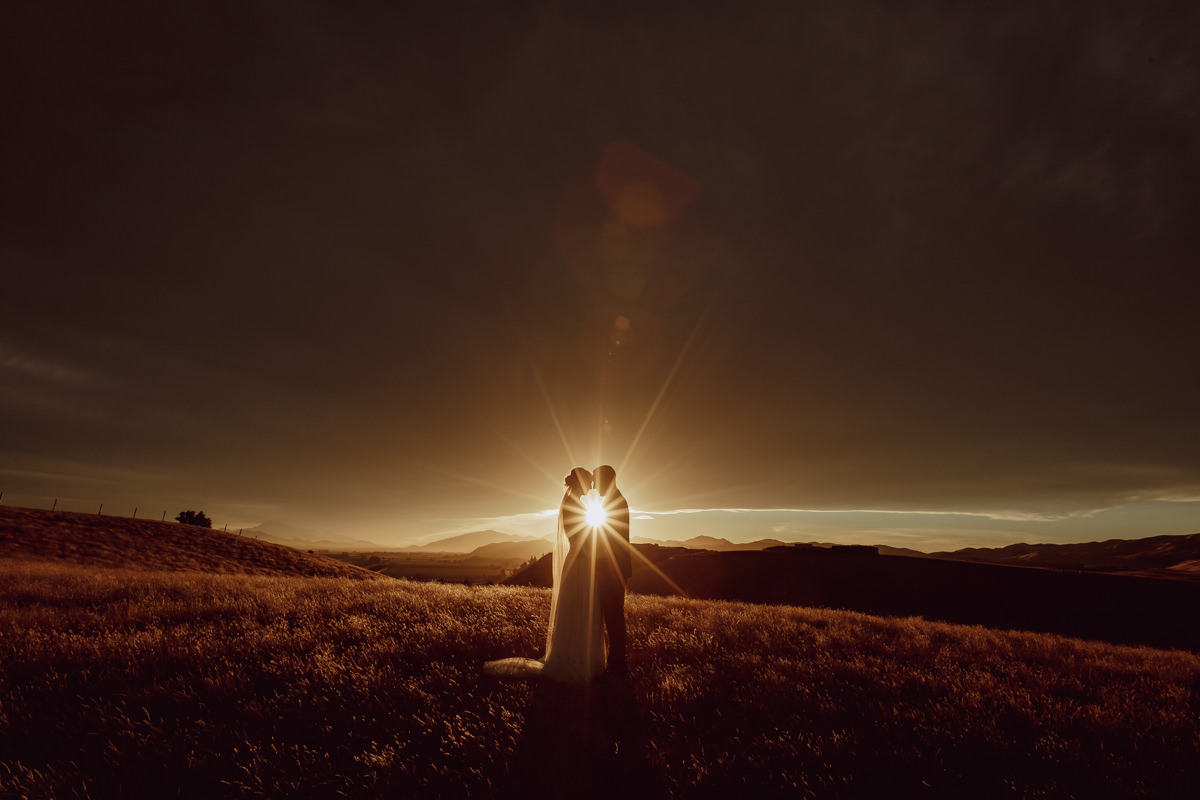 Sunset portraits bride and groom