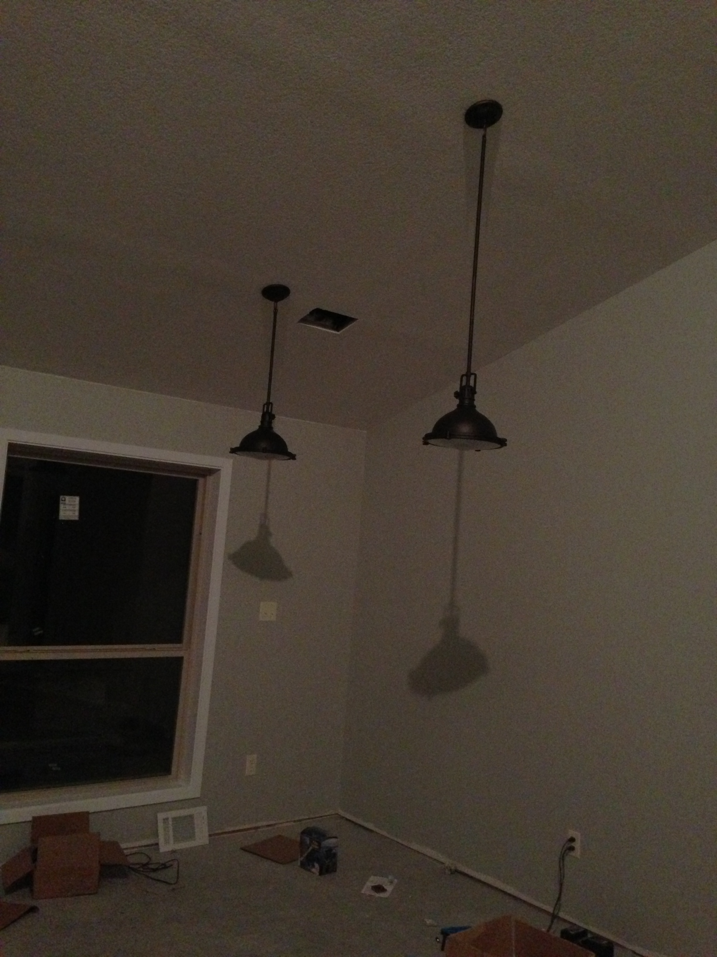 Lights above the dinning room table!!!! This style is going throughout the entire living and kitchen area.