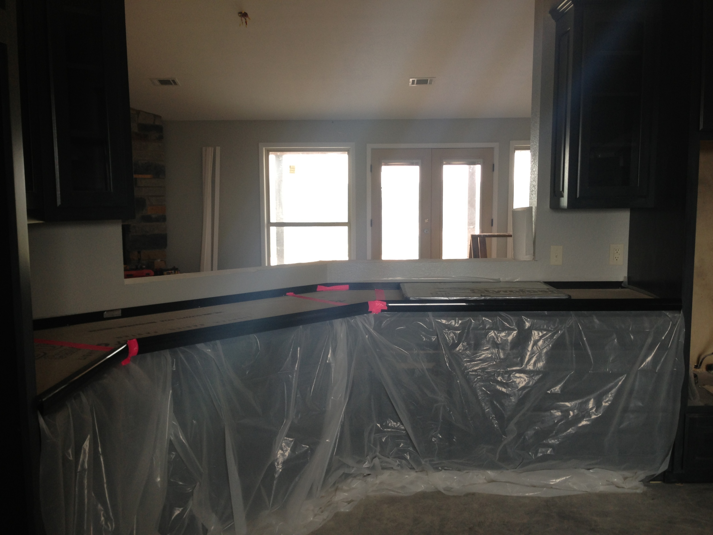 Preparing to pour the kitchen counters. After a number of test pours we finally committed!