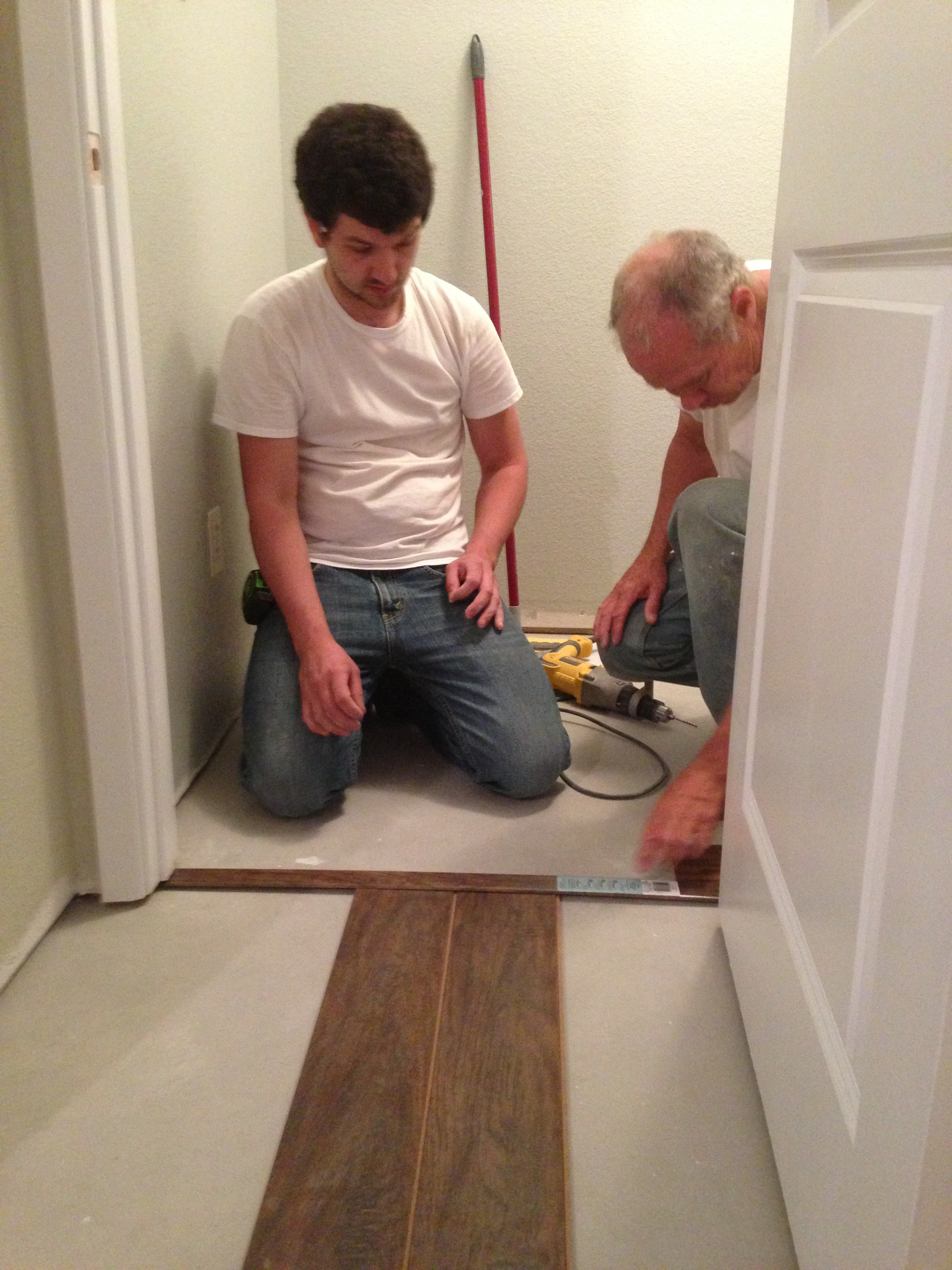 What else have we been doing?? Well, after many hours of thinking and adding and subtracting, we finally committed to flooring. Once Jake got started it was hard to get him to stop......