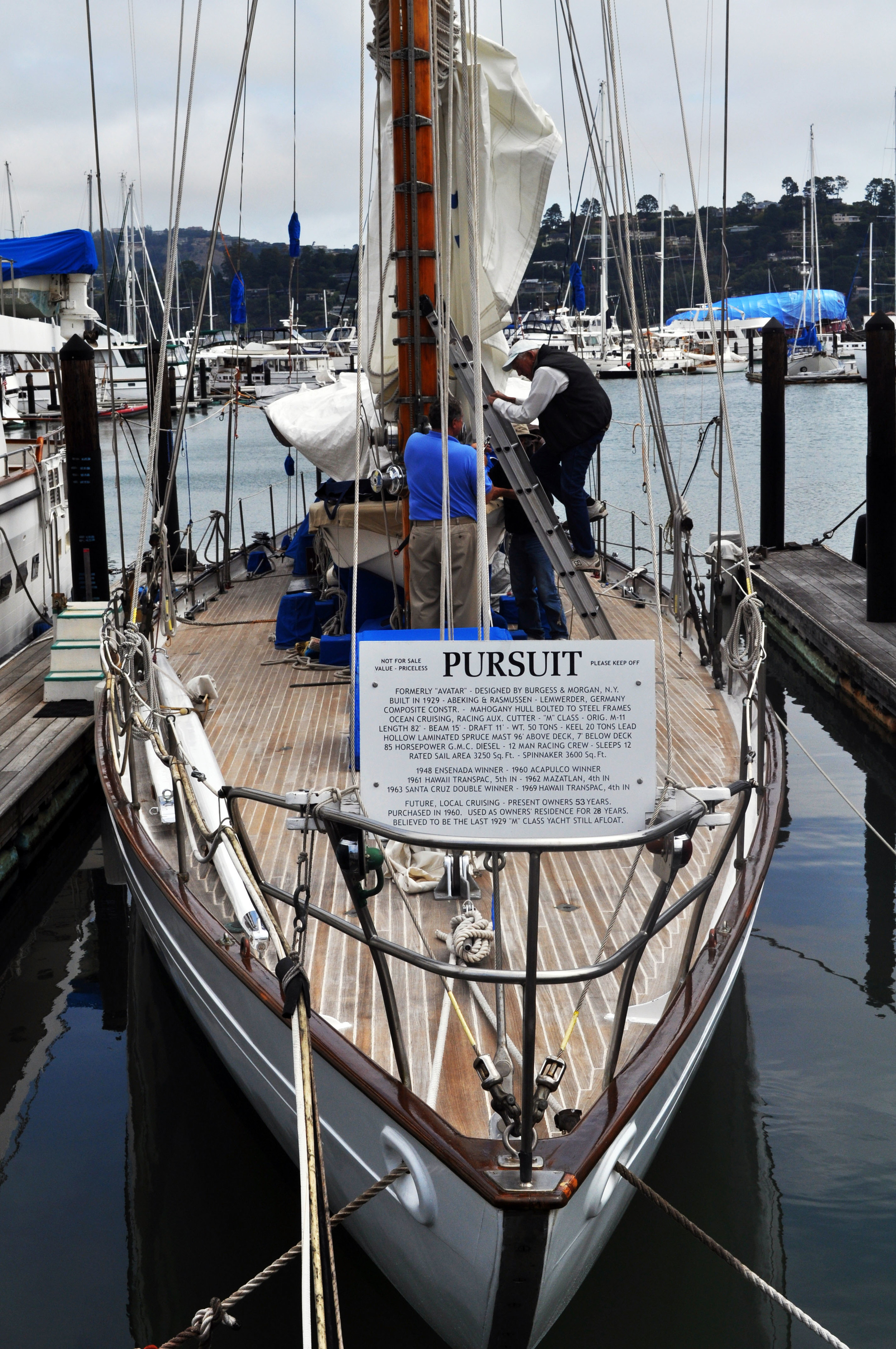 Across the Golden Gate docks this nifty ride. Pursuit, if you zoomed in the tablet would inform you that this sail boat was built in 1929 and has had an amazing journey. More info here about her journey http://www.boatingsf.com/boat/pursuit