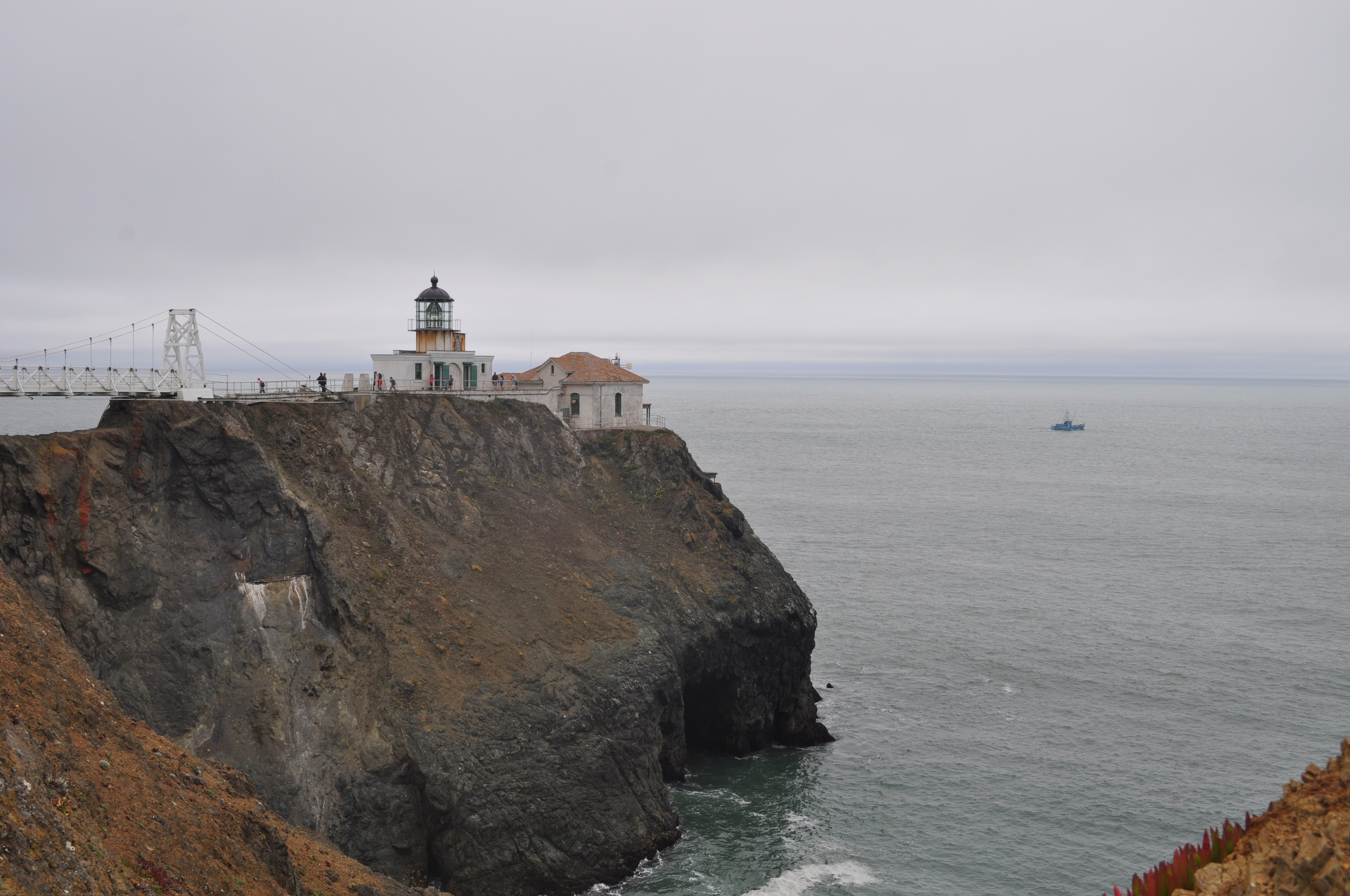 Down from the windiest place on earth is this little charm. This is Point Bonita Lighthouse. I have never seen anything like this! the edge of land, waves slicing into the side of the shore. You can lookout and see for a long way.