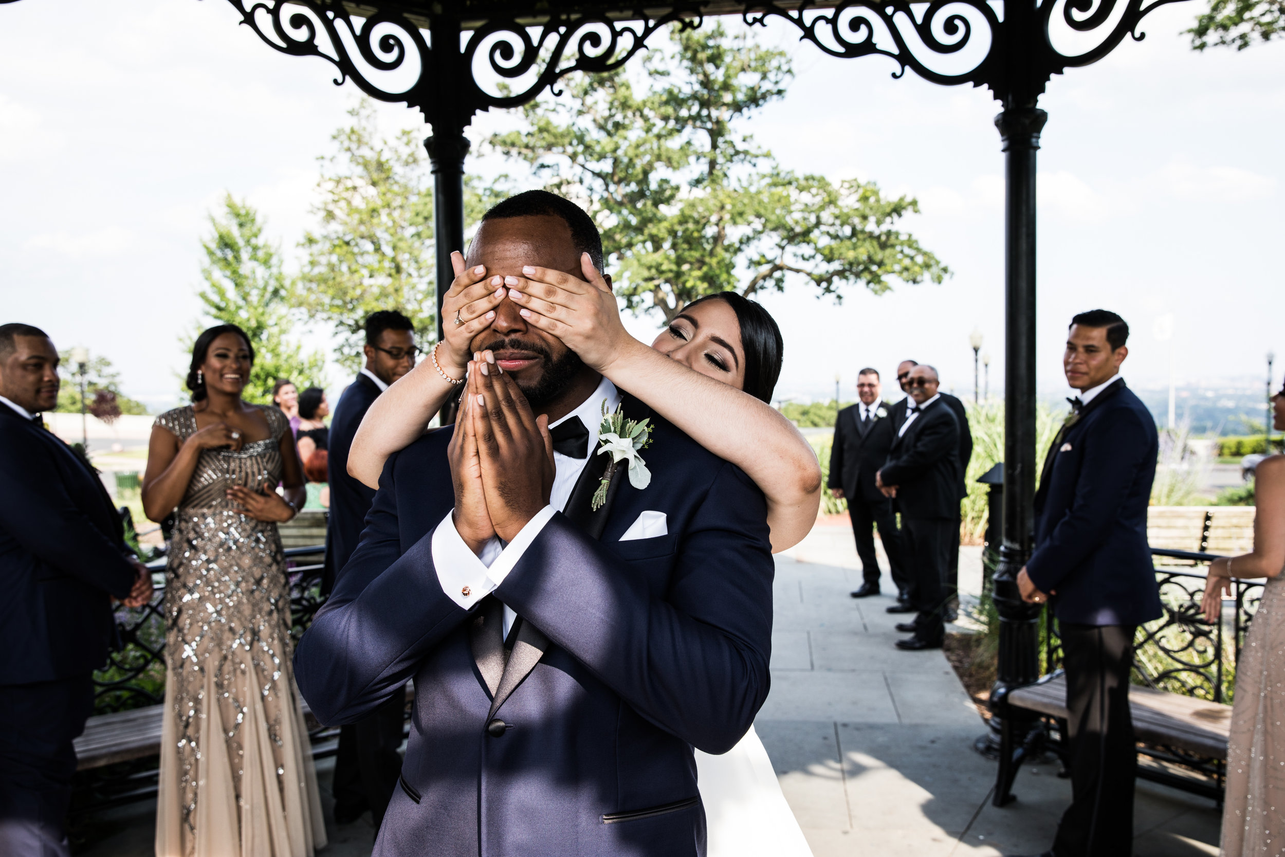 "WEST ORANGE, NJ — Stephanie surprises Phil during their ""first look""."