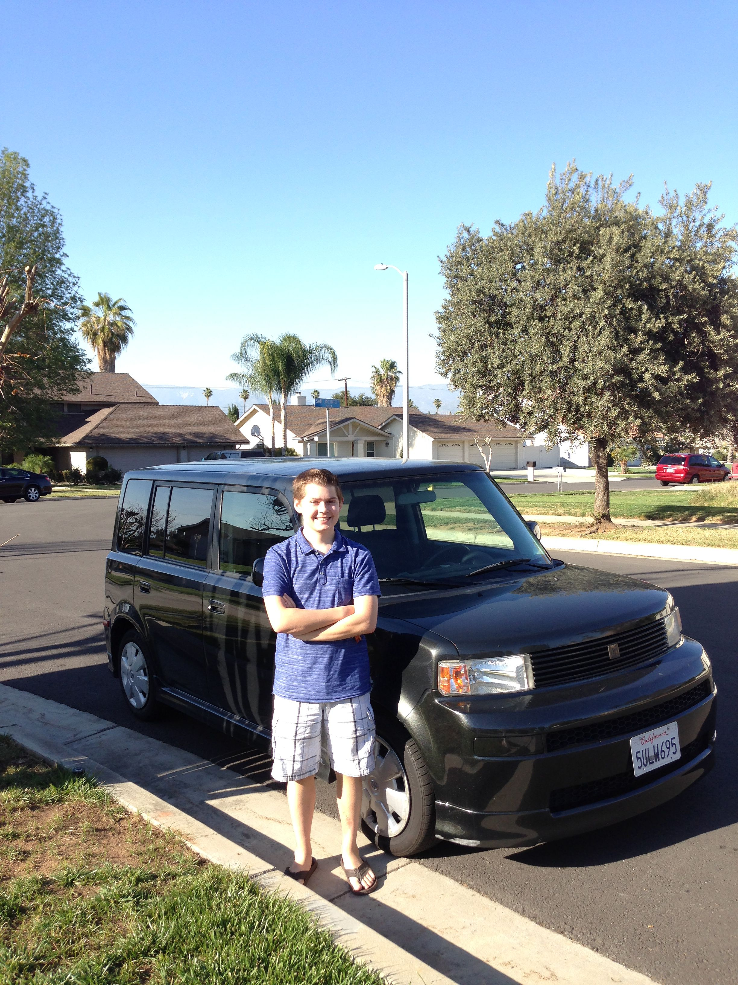 Blake with his Scion xB!