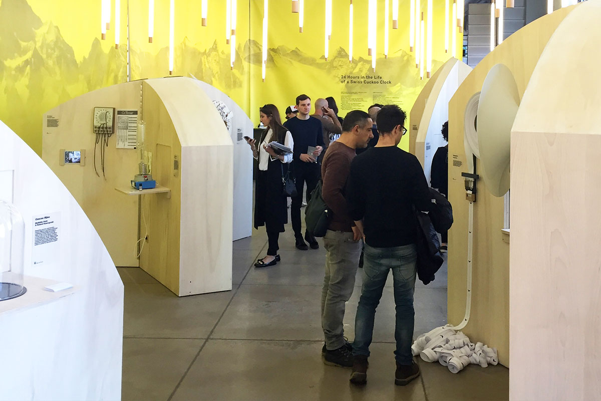 """Exposition """"24 hours in the life of a swiss cuckoo"""", HEAD - Genève, Salone di Mobile di Milano 2016."""