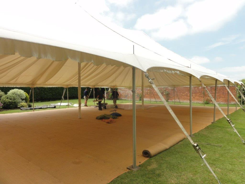 Marquee erection in the walled garden