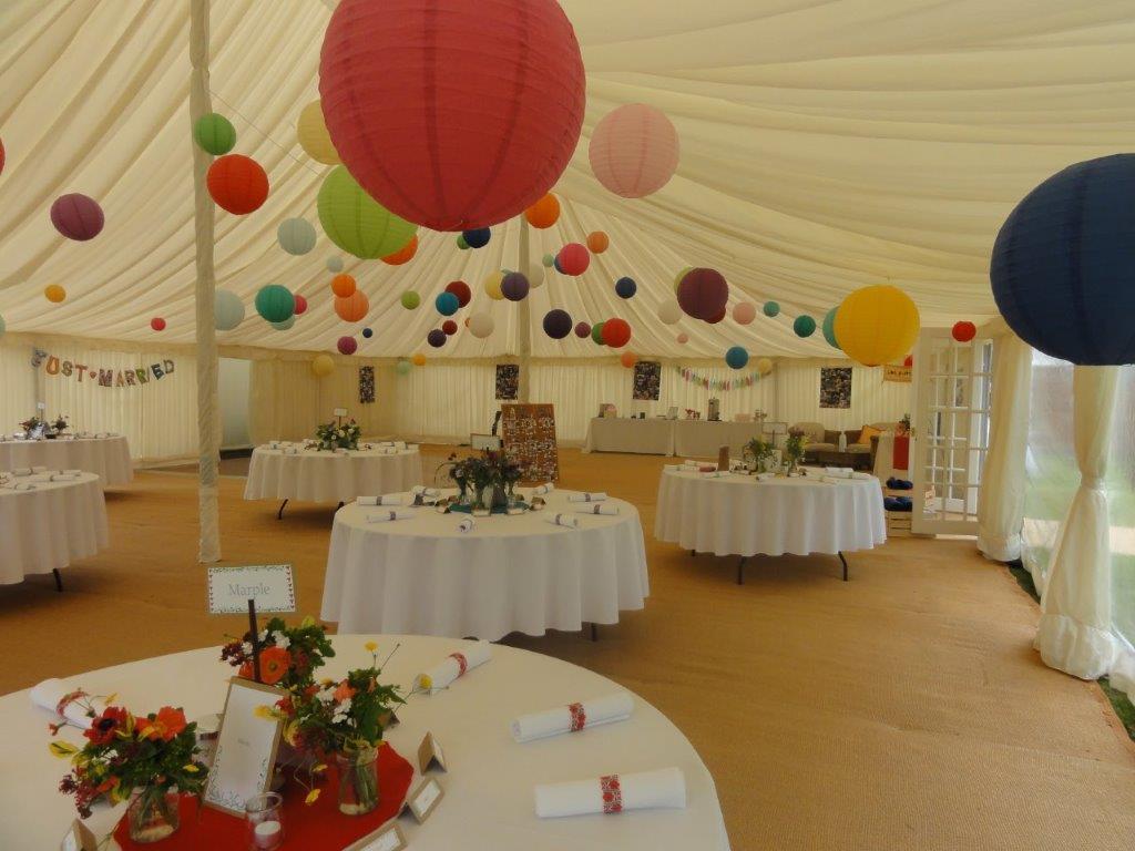June wedding marquee interior
