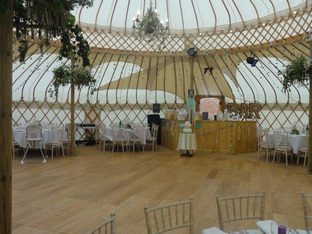 June wedding yurt interior