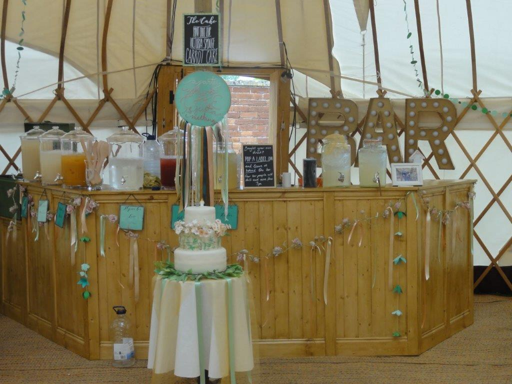 Bar area in a yurt in the gardens