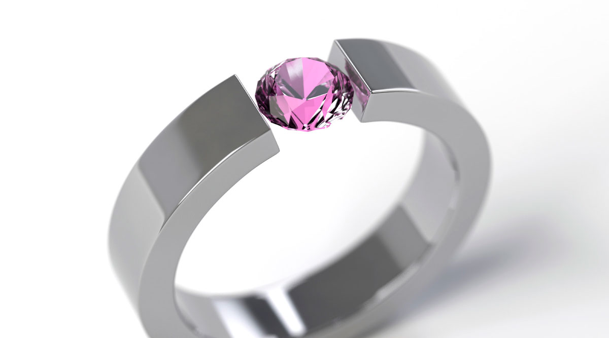 Pink Sapphire Tension Ring (Exercise)