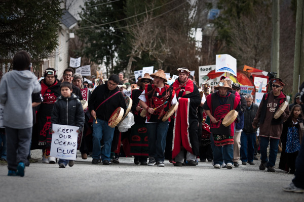 The Heiltsuk people protesting the Northern Gateway project.