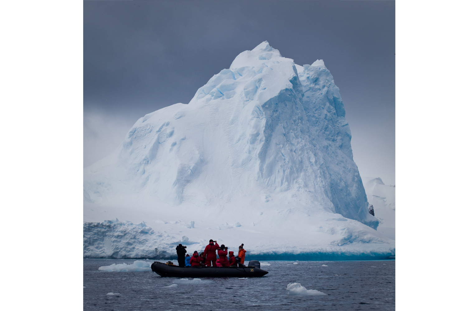 Iceberg. 70-80% of a an icebergs mass is below water.