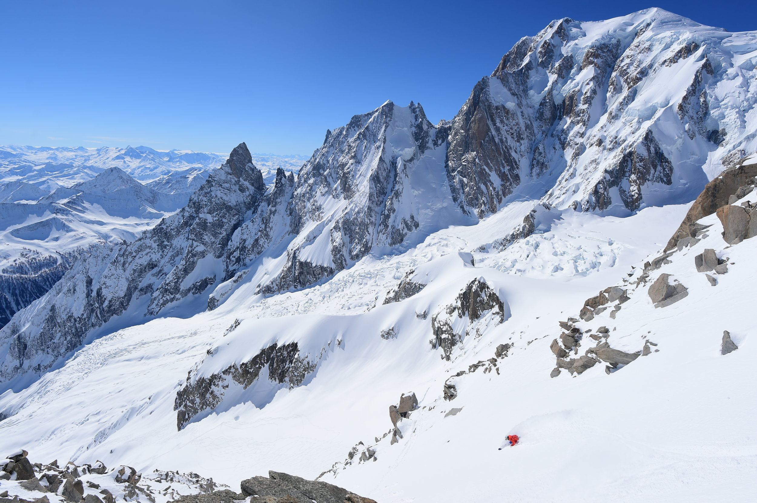 Josh Daiek skiing down to the Brenda Glacier underneath Mont Blanc.  Photo: Mattias Fredriksson