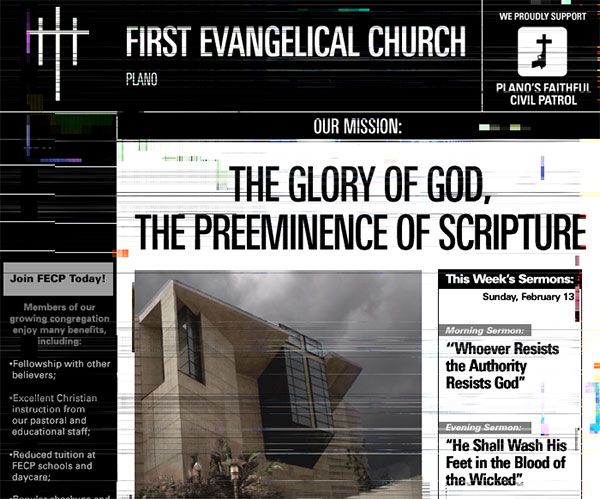 In this dystopian future churches are state run.