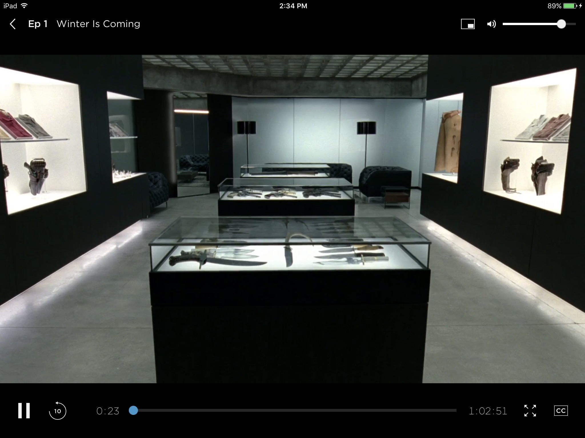 An advertisement on HBO GO showed in the same video display window, using the same scrubber bar as the main content.