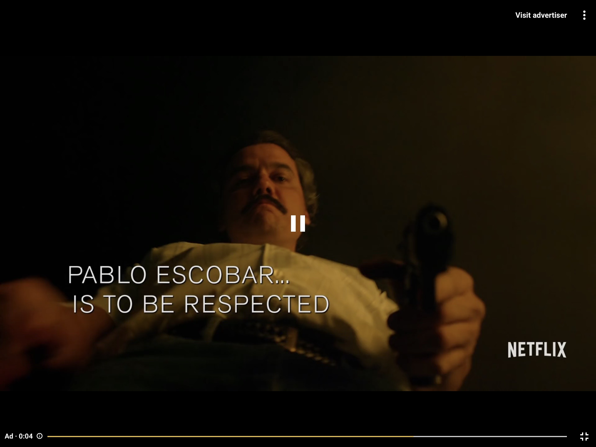 An advertisement on Netflix showed in the same video display window, using the same scrubber bar as the main content.