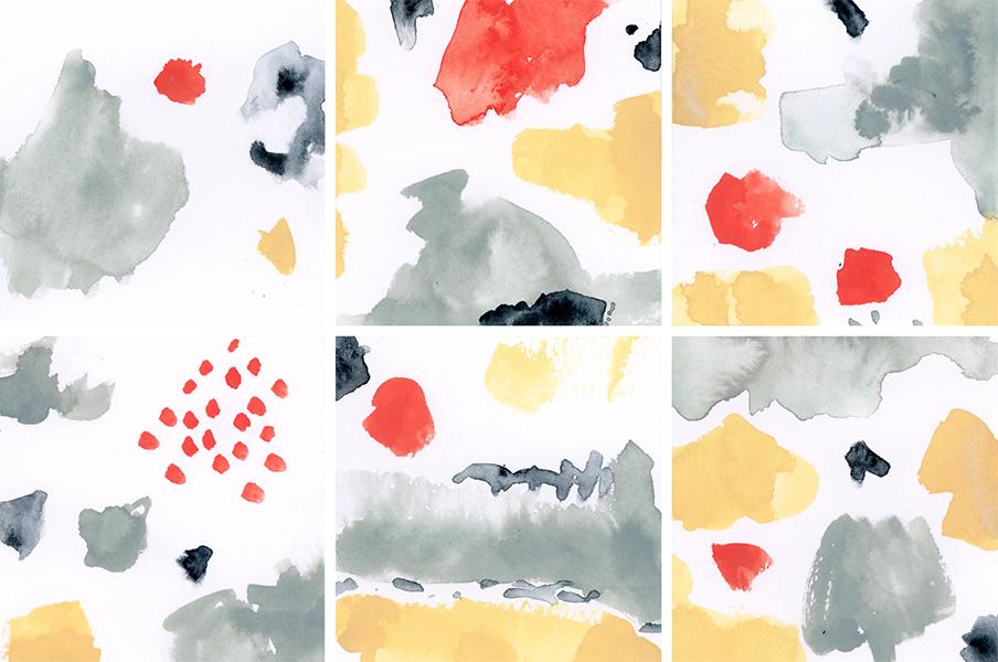 "Sink Deep with the Rain (4, 4""x4"" panels)"