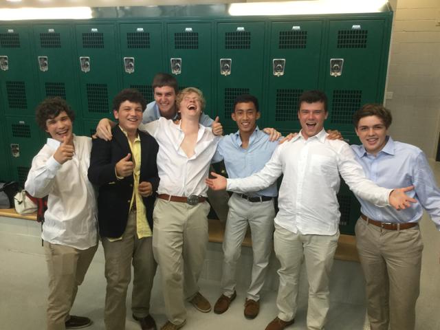 Alvaro with some Green Jay classmates at Strake.