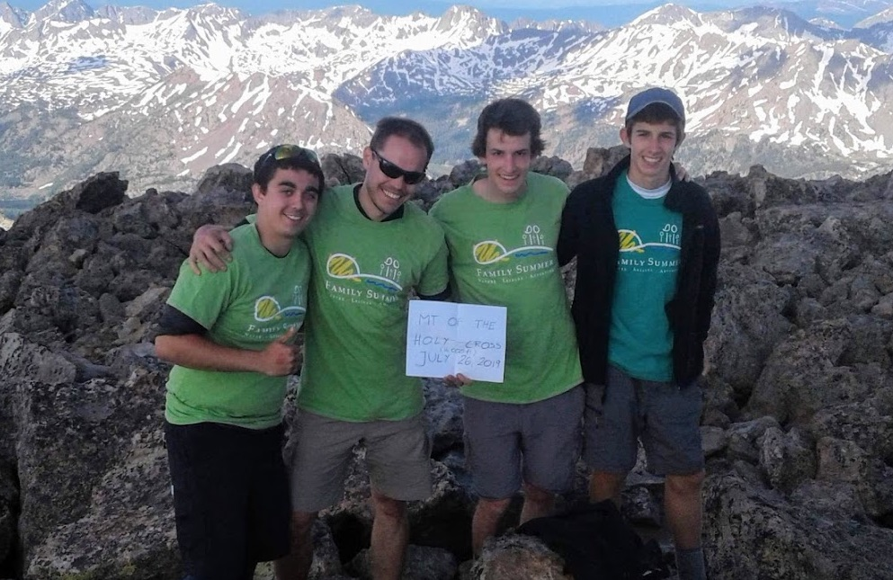 Rafael Bello, Andy and Miguel Caranti with Marcin, atop the Mount of the Holy Cross 14,009 ft, on Andy's Birthday 7/26.