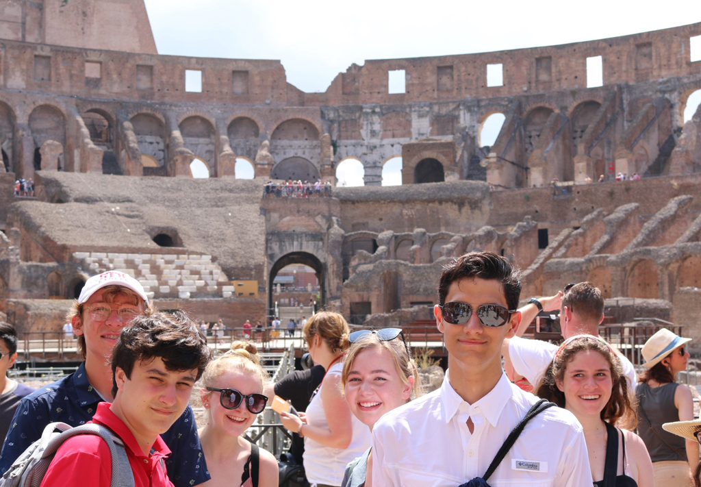 Jordan (right) was one of four St. Thomas High School students chosen to participate in the summer Italy trip.