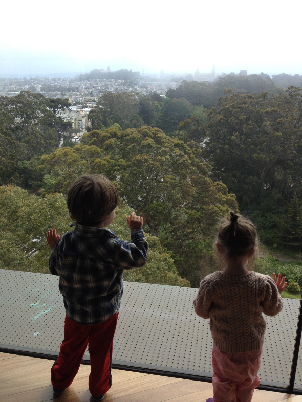 Augie and Lou at the de Young tower, or as known to them as the tippy tippy top.