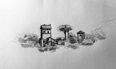 """Villa in the Distance"" graphite on paper, 9""x12"", 2019 $225 (contact corichampagne@gmail.com for purchases)"
