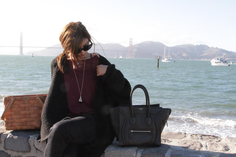 zara knit sweater, H&M shirt, celine bag