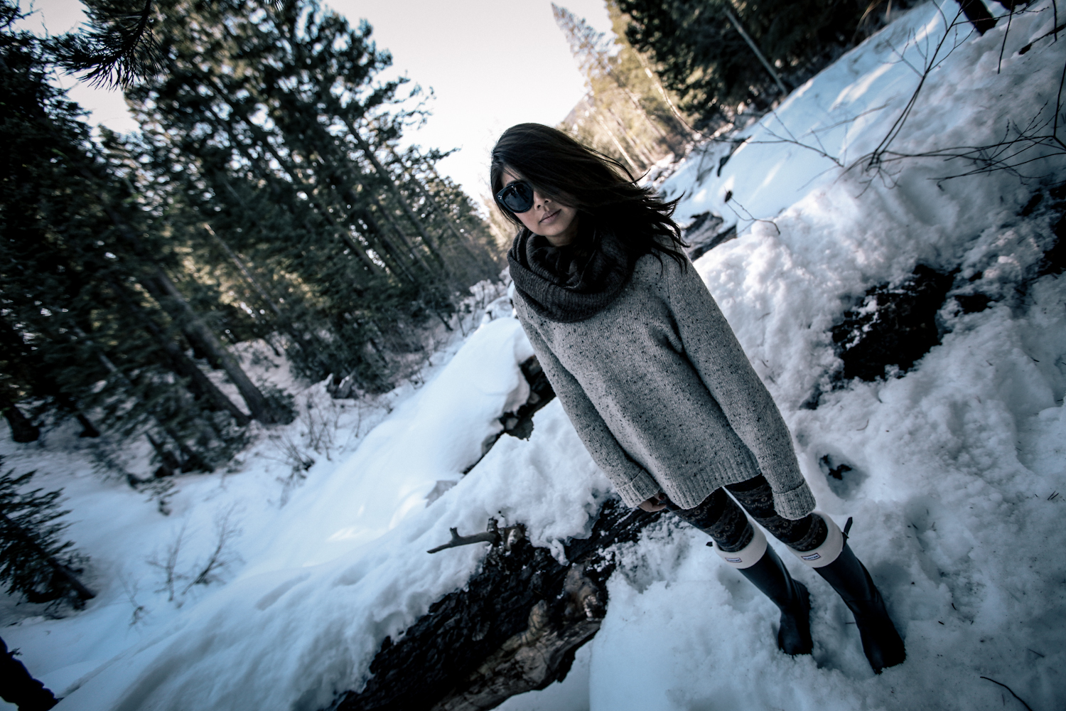 Vince sweater & scarf, XXI pants, Hunter boots