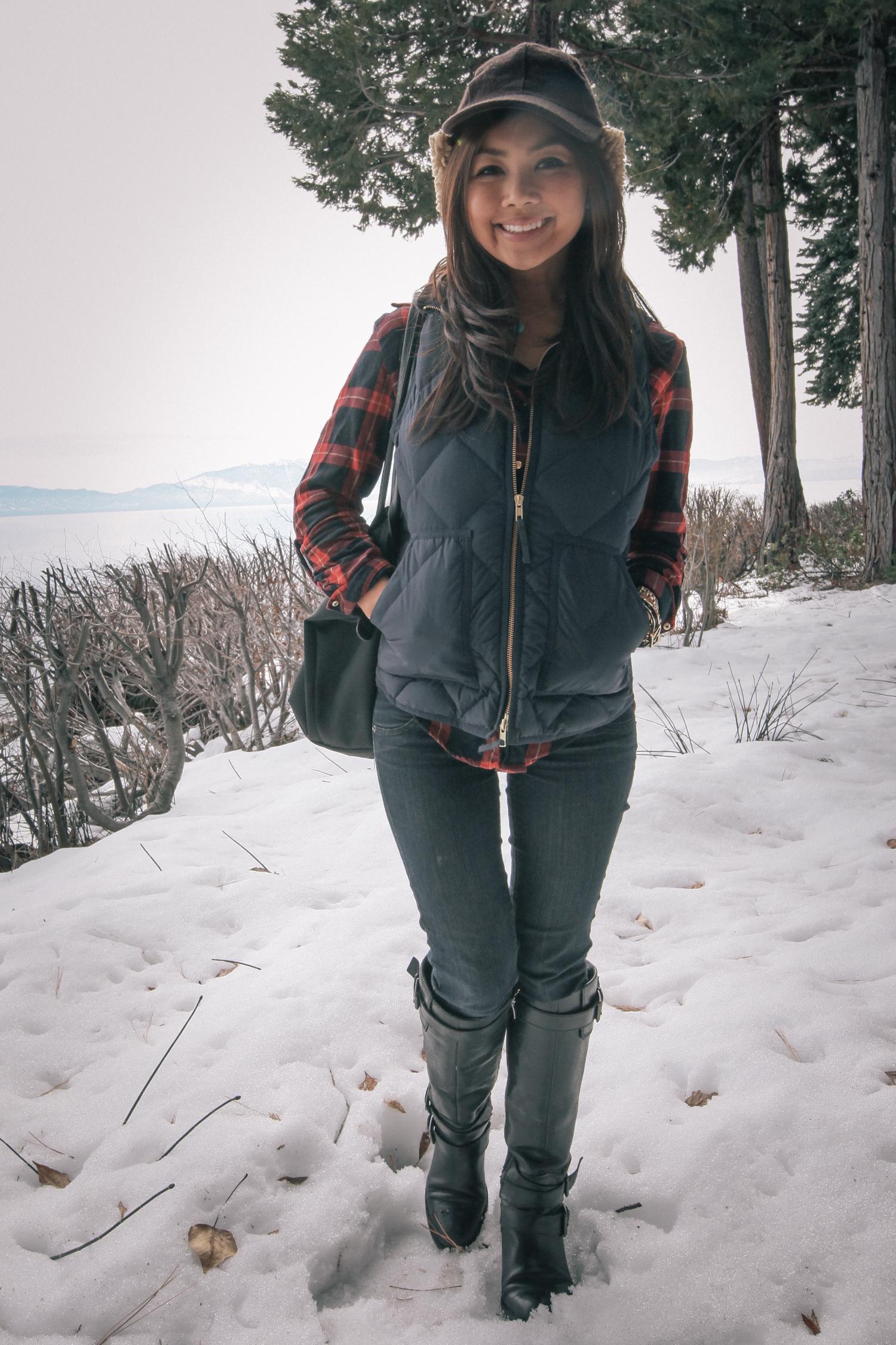 Zara plaid shirt. Jcrew vest. LF jeans, Enzo Angiolini boots