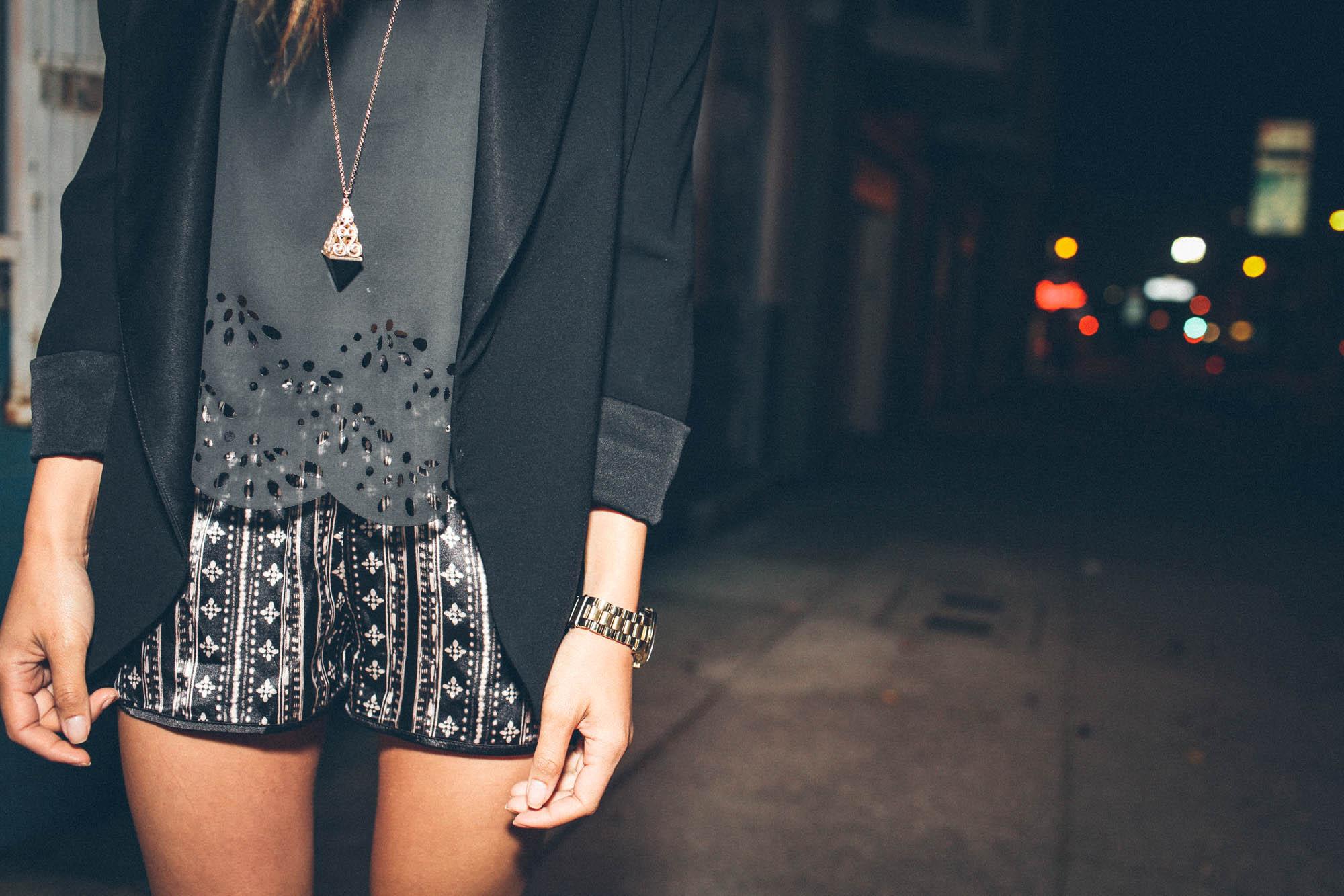 Aritzia blazer, Brandy Melville top , XXI shorts, Zara shoes, Michael Kors watch