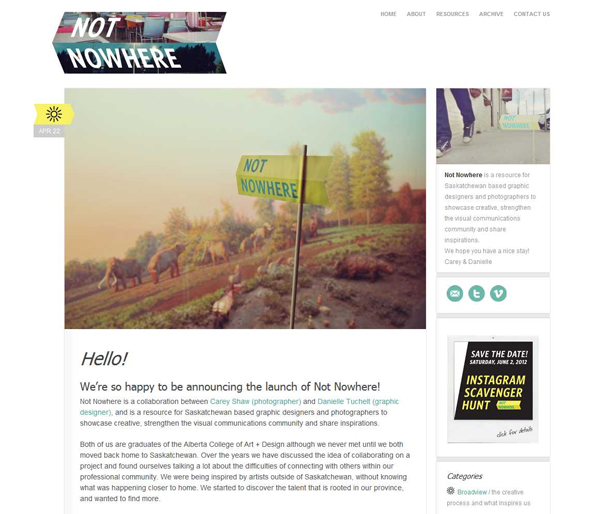 Hello! - Not Nowhere - Not Nowhere - Somewhere for Saskatchewan based graphic designer and photographers.jpg