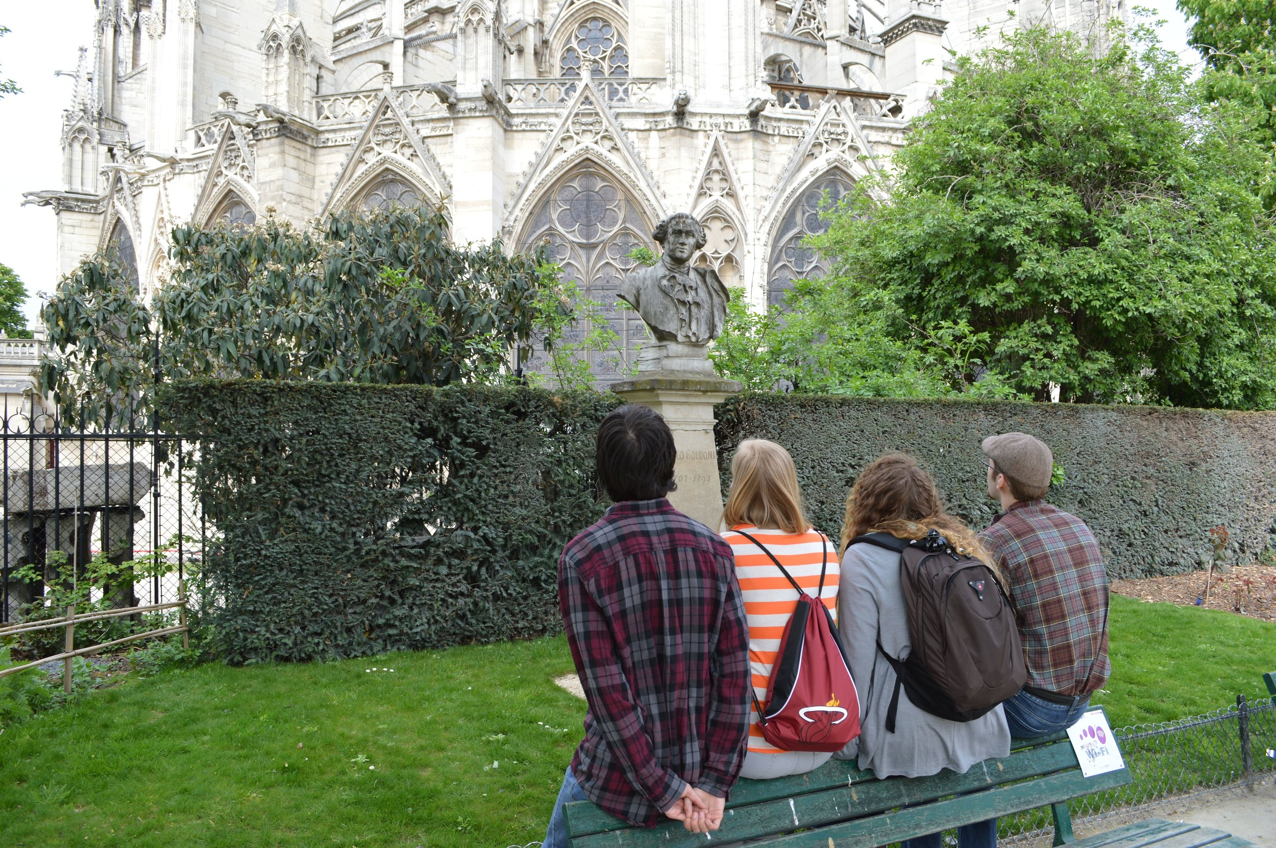Students at east end of Notre Dame, Paris