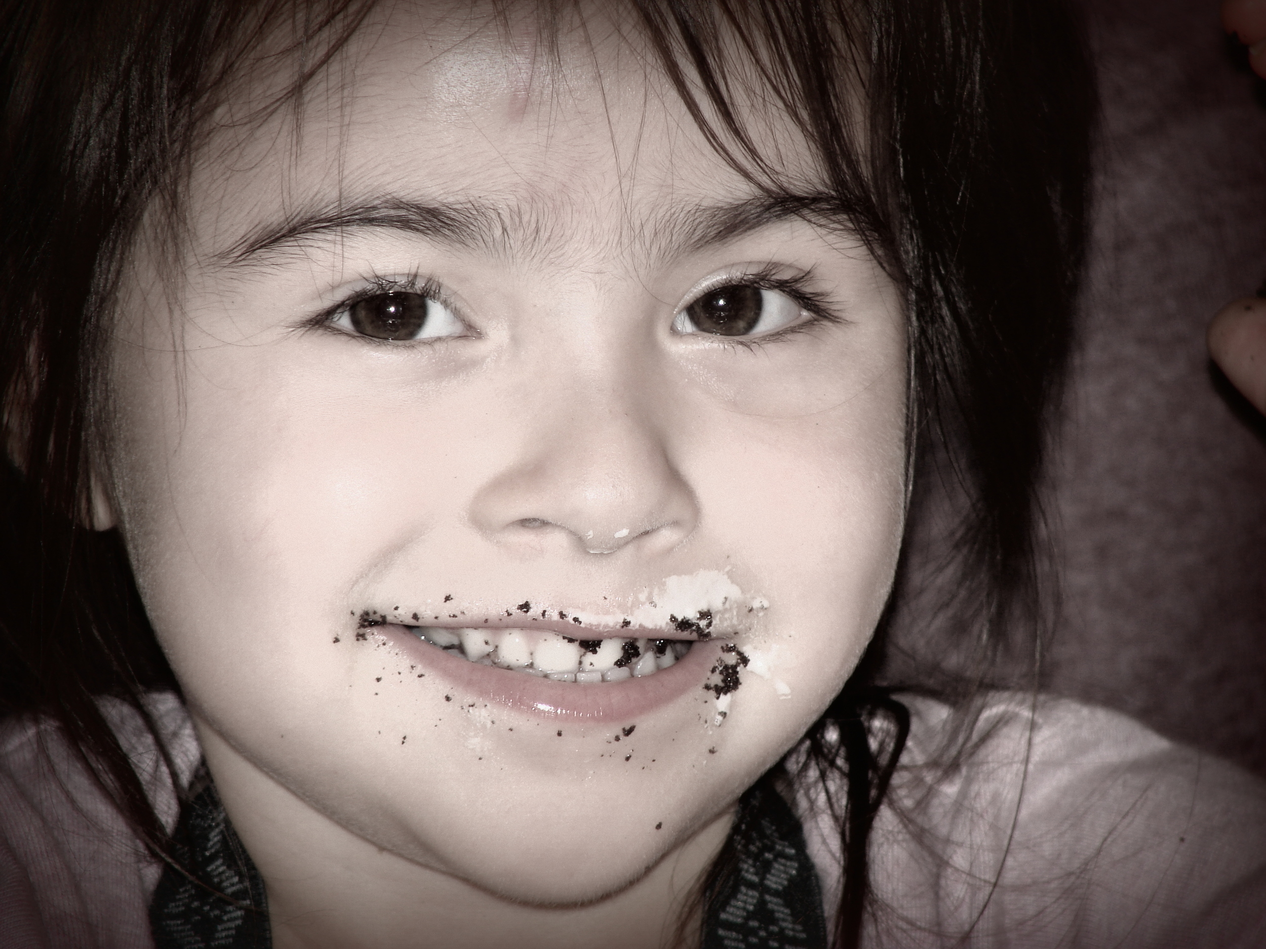 My niece Luz thoroughly basking in the joy of chocolate cake!