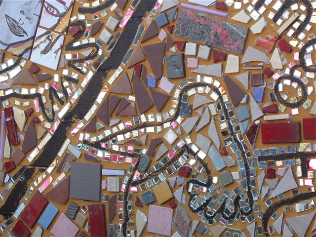 Detail from Isaiah Zagar mural class - Visionary Mosaics