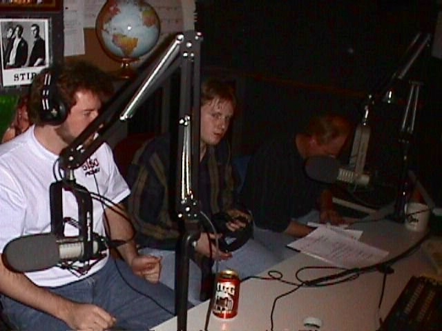 Me (in the middle) in 1999 on Madison radio. That's Ron Higgins to my right (Van Halen historian and all-around good guy).