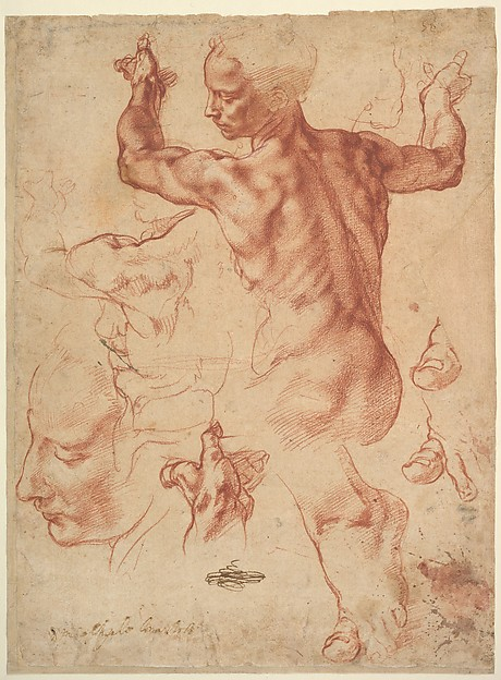 Studies for the Libyan Sibyl and a small sketch for a seated figure (c. 1510–11), Michelangelo