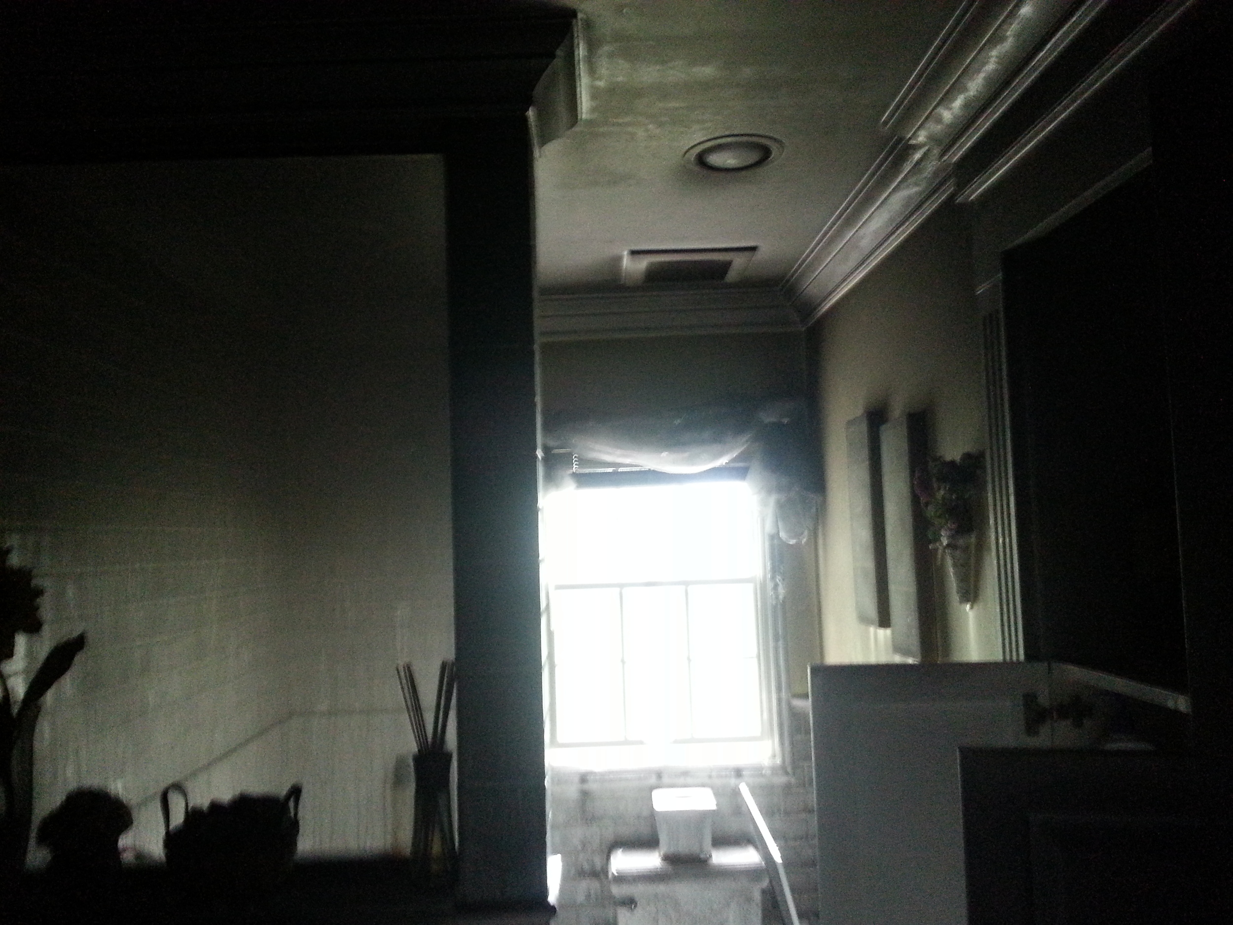 Smoke damaged bathroom before restoration by Groundswell Contracting