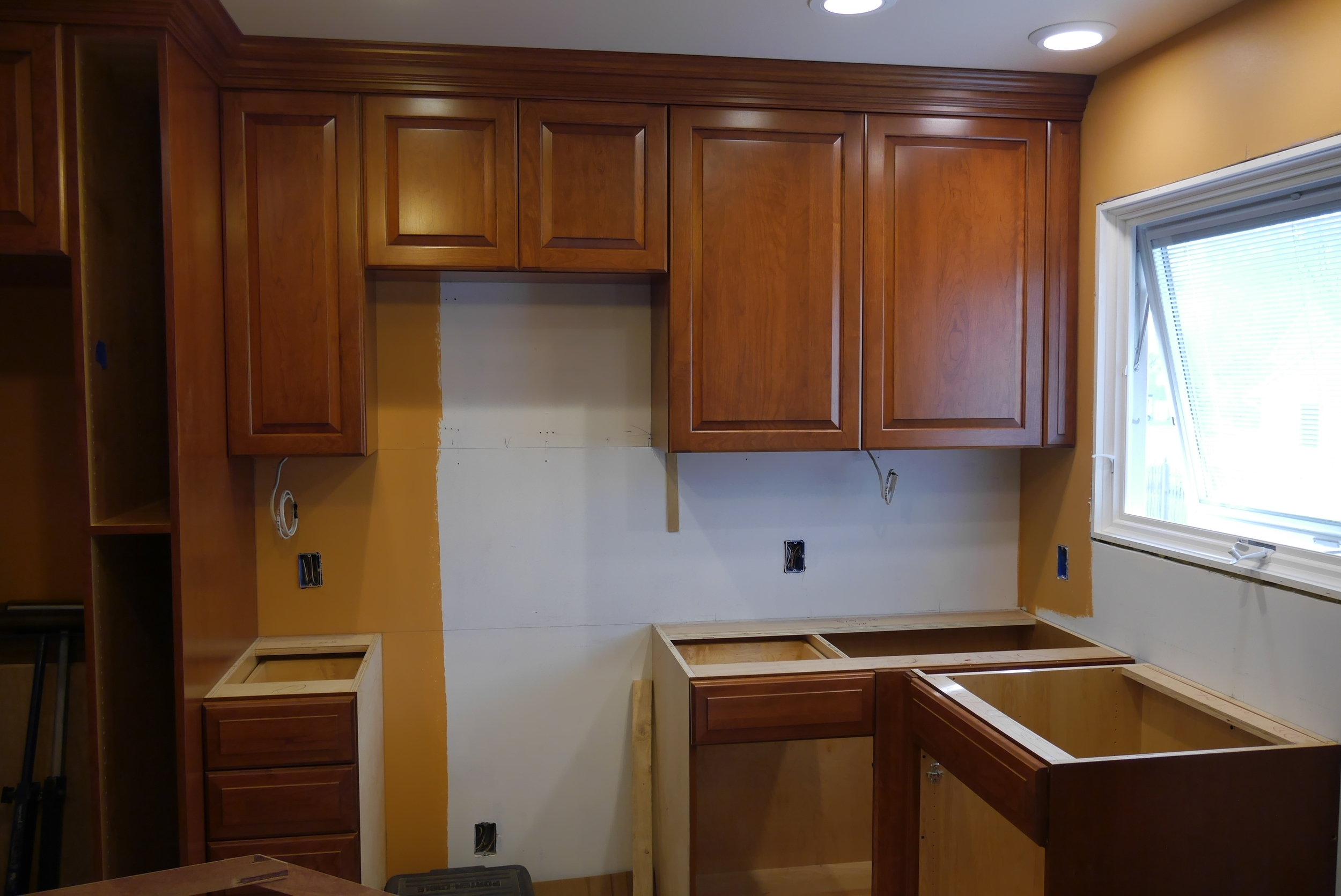 Adelphi custom kitchen during installation by Groundswell Contracting