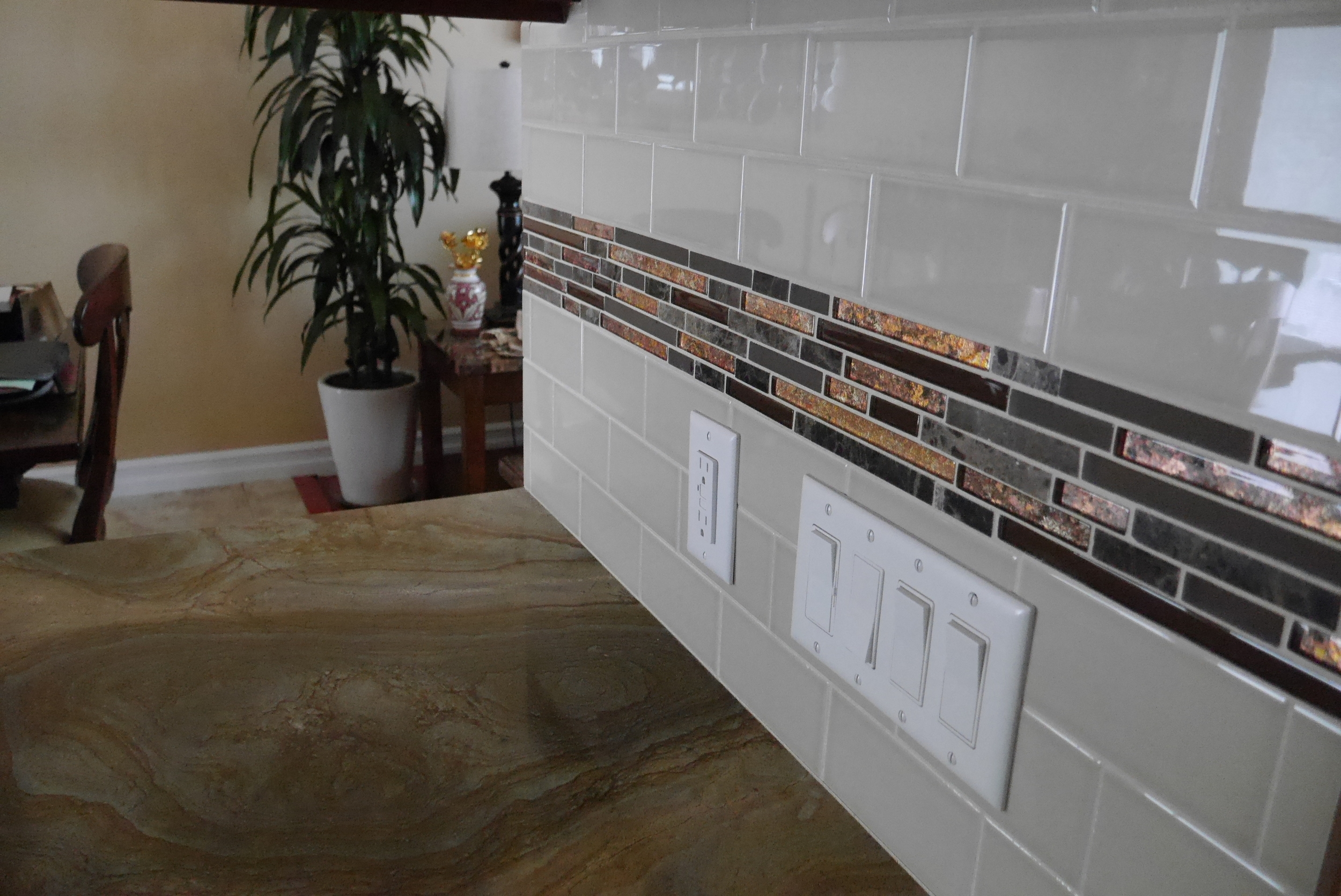 Backsplash installation by Groundswell Contracting