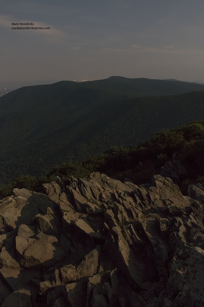 A 30 second exposure, illuminated by a full moon, of the talus slopes on Hawksbill Mountain; the habitat of the Shenandoah Salamander. These endangered Salamanders are primarily nocturnal and this is how their habitat looks during their most active hours.