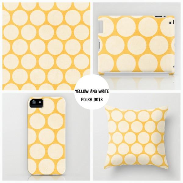 yellow and white polka dots
