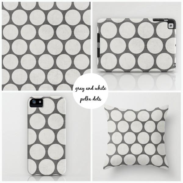 gray and white polka dots