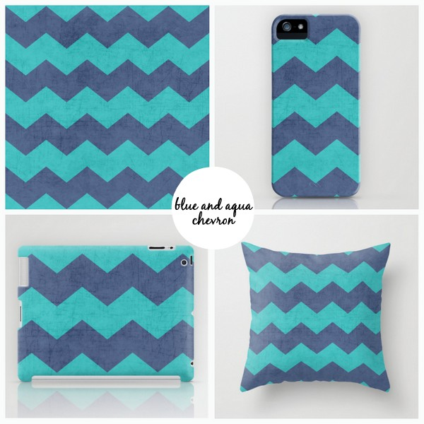blue and aqua chevron