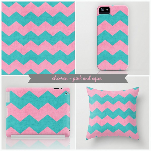 chevron - pink and aqua