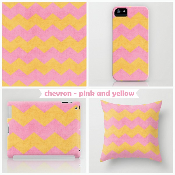 chevron - pink and yellow