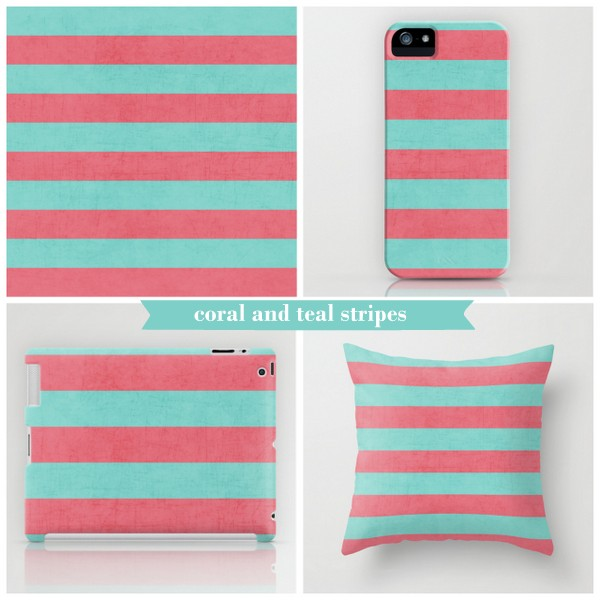 coral and teal stripes